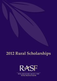 2012 Rural Scholarships - Royal Agricultural Society of NSW