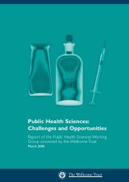 Public Health Sciences: Challenges and ... - Wellcome Trust