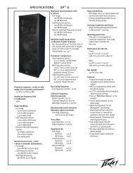 SPECIFICATIONS SP - Peavey