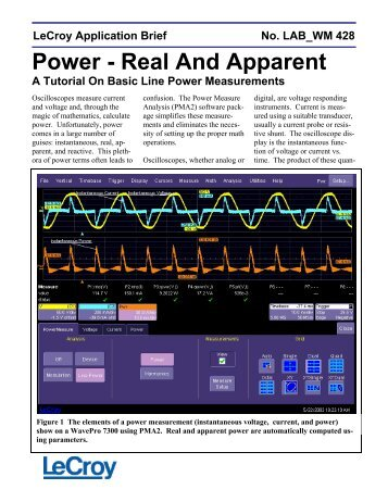 LAB WM428 - Power - Real And Apparent - Teledyne LeCroy