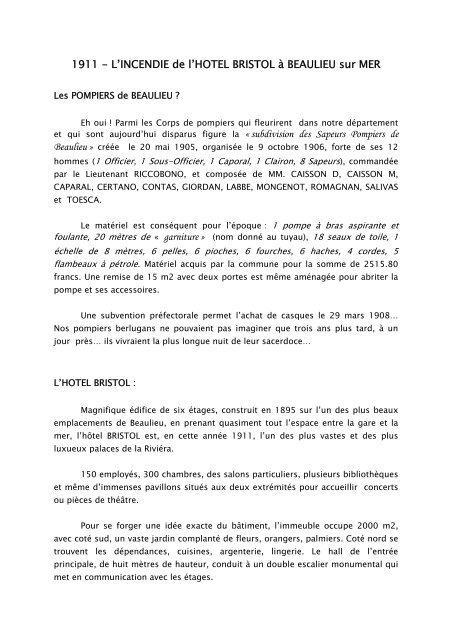 L\'INCENDIE de l\'HOTEL BRISTOL Ã BEAULIEU sur MER - SDIS 06