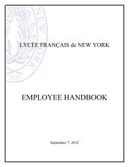 EMPLOYEE HANDBOOK - Lycée Français de New York