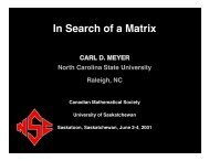 In Search of a Matrix - Carl Meyer - North Carolina State University