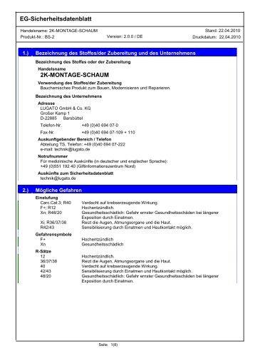 EG-Sicherheitsdatenblatt 2K-MONTAGE-SCHAUM - Lugato