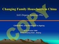Changing Family Households in China - New Dynamics of Ageing