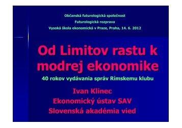 Rimsky klub - Od Limitov rastu k Modrej ekonomike