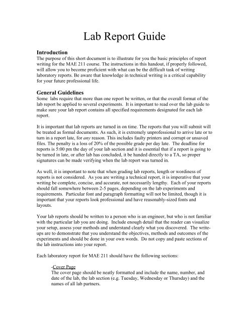 what to include in a lab report