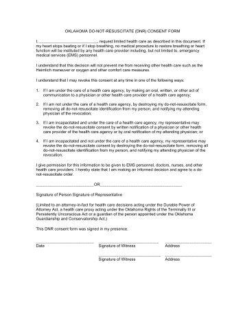 OKLAHOMA DO NOT RESUSCITATE (DNR) CONSENT FORM I ..