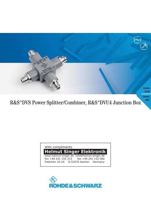 R&S DVS Power Splitter/Combiner, R&S DVU4 Junction Box