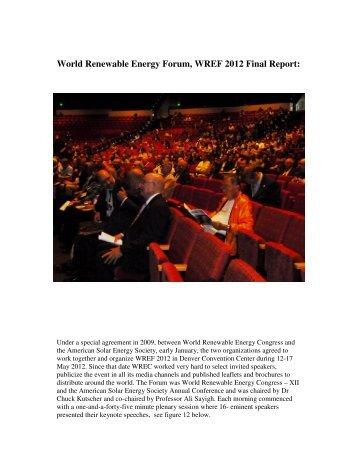 World Renewable Energy Forum, WREF 2012 Final Report: