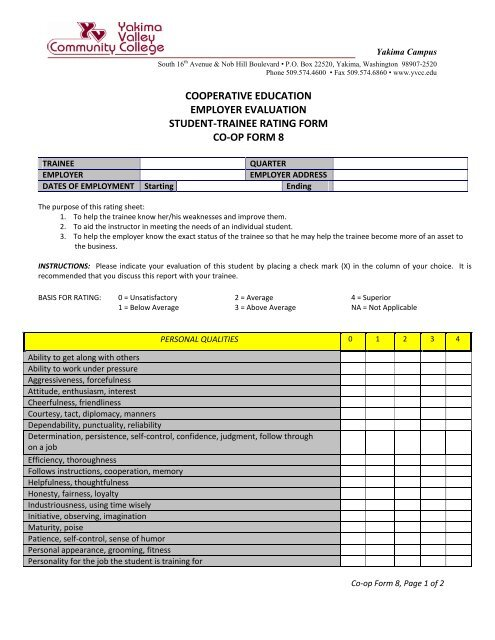 Cooperative Education Employer Evaluation Student Trainee Rating