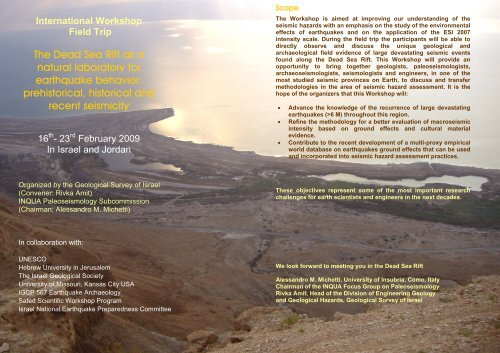 The Dead Sea Rift as a natural laboratory for earthquake behavior ...