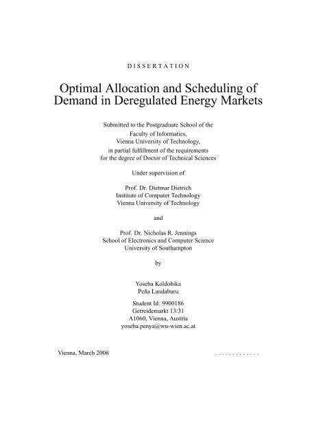 Optimal Allocation and Scheduling of Demand in Deregulated ...