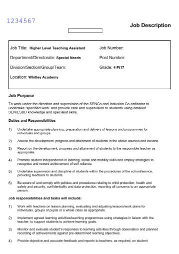 Higher Level Teaching Assistant Job Description - Whitley Academy