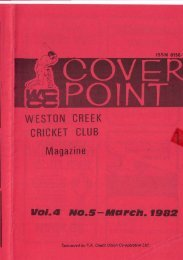 WESTON CREEK CRICKET CLUB Magazine vol.A NO.S-March,