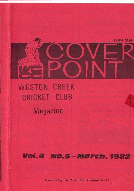 WESTON CREEK CRICKET CLUB Magazine vol.A NO.S-March,