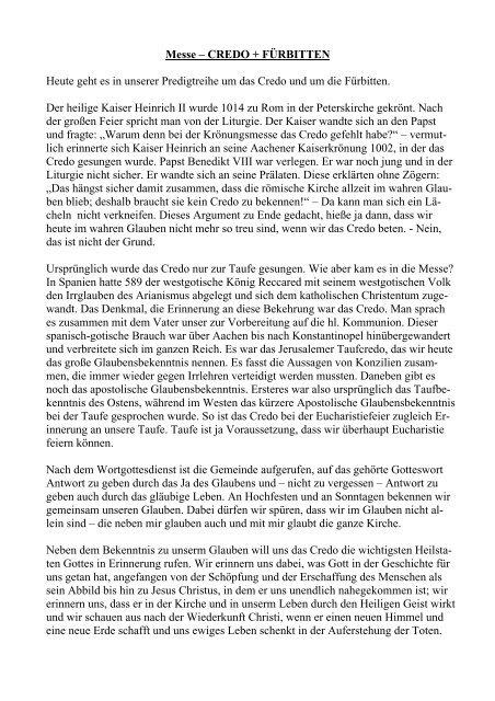 Credo Und Fürbitten Pdf 14 Kb Pfarrverband Neubiberg