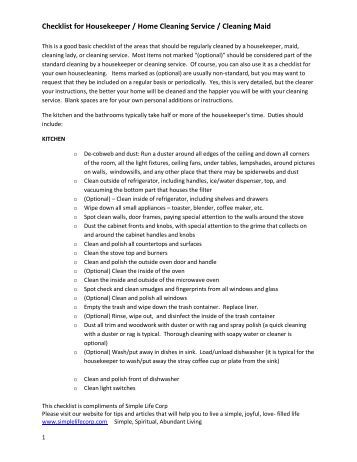 Checklist for Housekeeper   Home Cleaning       Simple Life Corp. Spring Cleaning Checklist   Martha Stewart