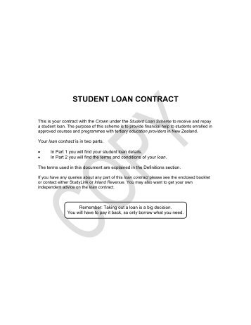 View the Student Loan Contract - August 2012 (PDF ... - StudyLink