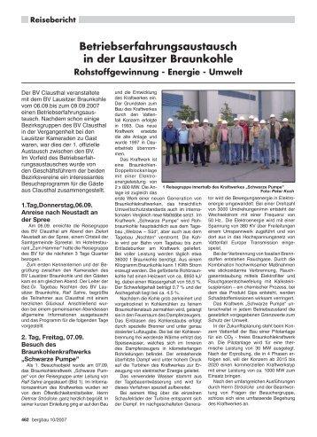 Betriebserfahrungsaustausch in der Lausitzer Braunkohle - RDB eV