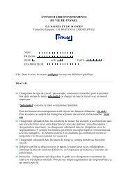 inventaire d evenements de vie de paykel - Département d ...