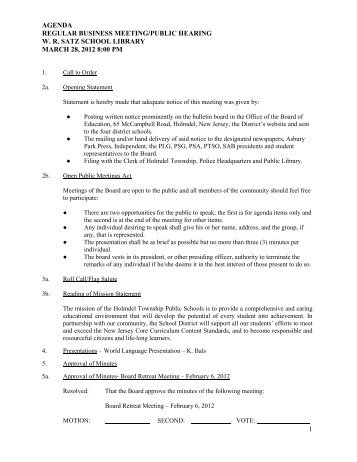 agenda regular business meeting/public hearing wr satz ... - Holmdel