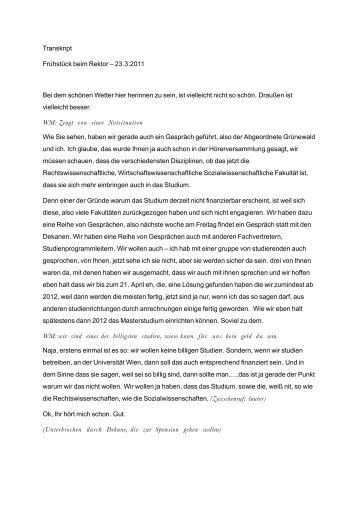 Transkript Frühstück beim Rektor – 23.3.2011 Bei ... - Universität Wien
