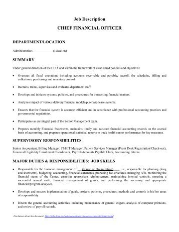 Job Description: Chief Financial Officer Date: 11/16/12