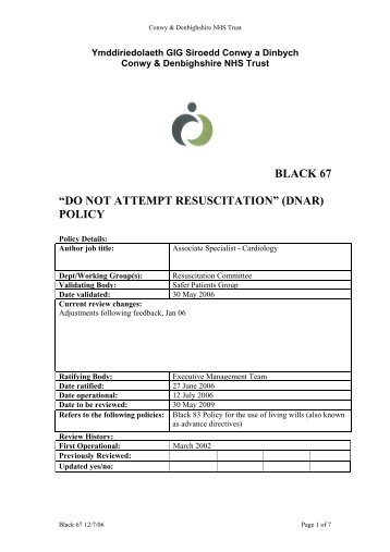 "black 67 ""do not attempt resuscitation"" (dnar) policy - Health in Wales"