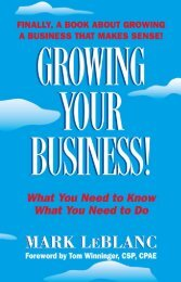 Growing Your Business by Mark LeBlanc - EcTownUSA.com