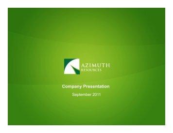 Azimuth PPT Presentation September 2011 ... - gowebcasting