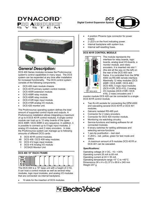 Block Diagrams - Electro-Voice