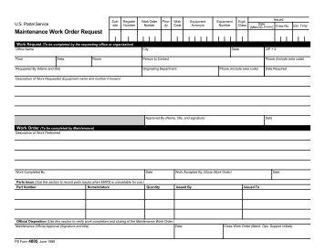PS Form 4805, Maintenance Work Order Request - NALC Branch 78