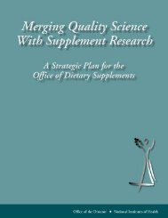 A Strategic Plan for the Office of Dietary Supplements