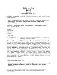 Edge Level A Unit 5 - Division of Language Arts/Reading
