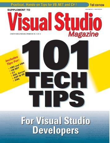 101 Tech Tips - Visual Studio Magazine - One-Stop Source Shop