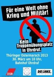 Thüringer Ostermarsch 2013 30. März um 10 Uhr, Bahnhof Ohrdruf