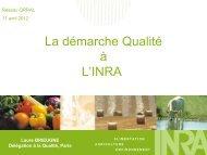 La démarche Qualité à L'INRA - Réseau Qualité en Recherche