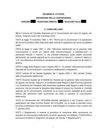 DELIBERA N. 51/10/CRL DEFINIZIONE DELLA ... - Corecom Lazio