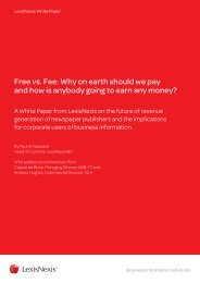 Free vs. Fee: Why on earth should we pay and how is ... - LexisNexis