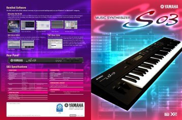 S03 Specifications Rear Panel Bundled Software - Yamaha Synth.com