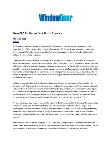 """""""New CEO for Deceuninck North America,"""" by staff writer"""
