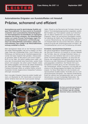 Automatisiertes Entgraten von Kunststoffteilen mit Heissluft - Leister
