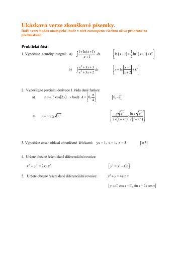 Vzor zkouškové písemky