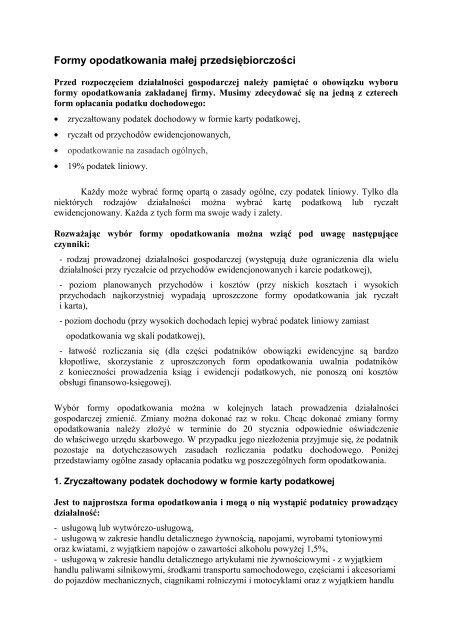 Formy opodatkowania działalności (pdf 150 kB)