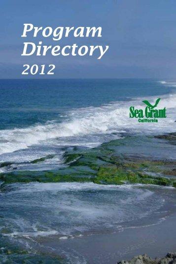 2012 Program Directory - California Sea Grant - UC San Diego
