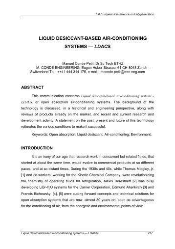 liquid desiccant-based air-conditioning systems — ldacs
