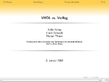 VHDL vs. Verilog - Weblearn.hs-bremen.de - Hochschule Bremen