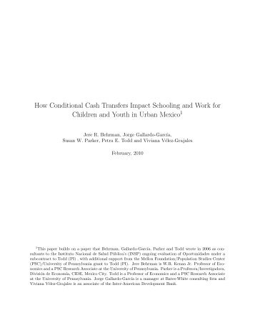 How Conditional Cash Transfers Impact Schooling and Work for ...