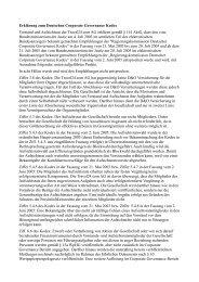 Erklärung zum Deutschen Corporate Governance Kodex Vorstand ...